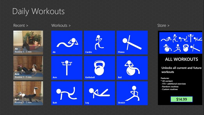 Daily Workouts App for Windows 10