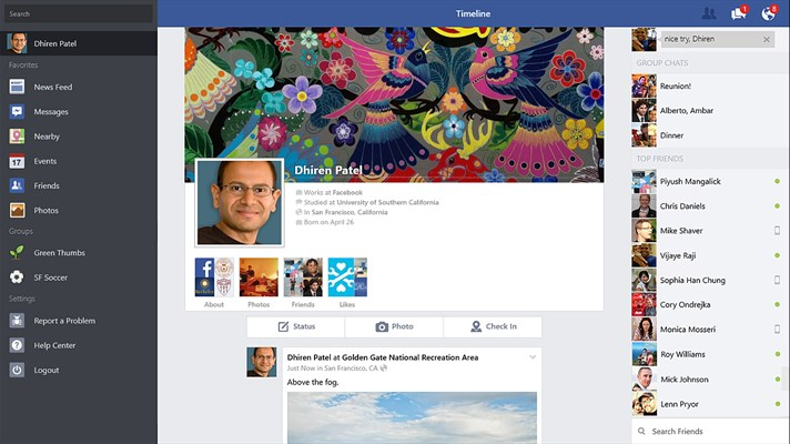 Facebook App for Windows 10
