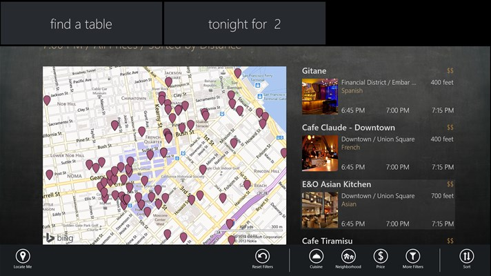 OpenTable App for Windows 10