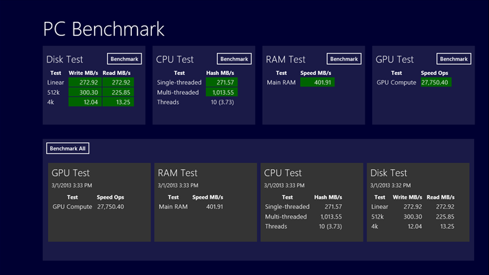 PC Benchmark App for Windows 10 and Windows RT