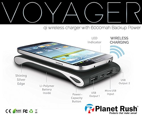 Voyager 3 in 1 QI Cell Phone Wireless Charging Station - Portable Power Bank - B01701QEMO